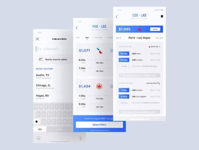 适用于iPhone X的航班和租车App UI套件,采用Sketch。,Heaven Mobile UI Kit设计