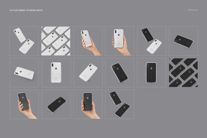 iPhone X 手机壳展示样机合集PSD素材源文件打包下载