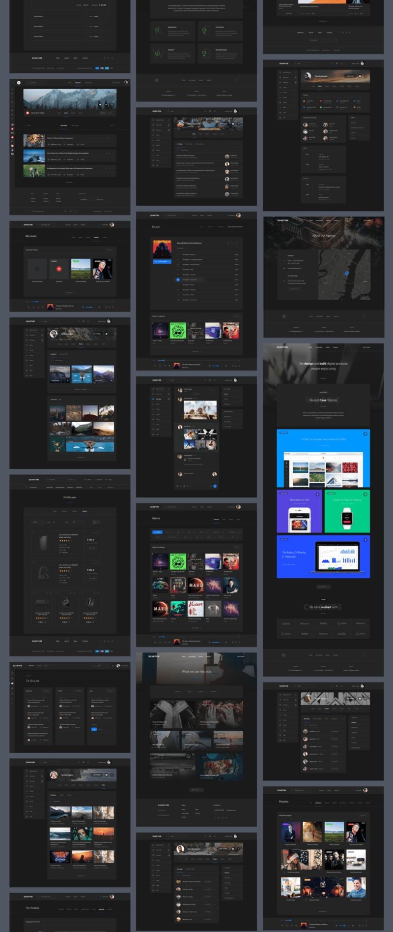 1200+用户界面卡和超过7个类别的超过200页。Quantum UI Kit 2.0
