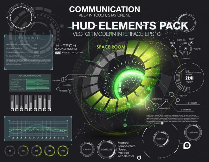 20款电子科技、光感变动、圆形数据分析图表图案等HUD界面矢量素材EPS源文件打包下载