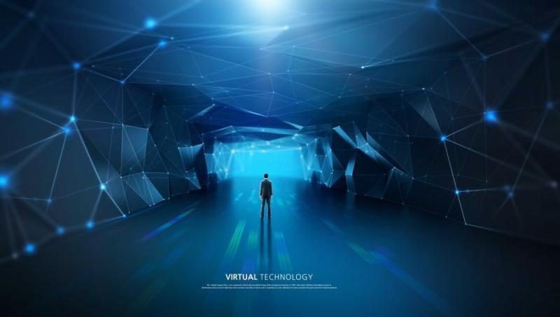10款蓝色科技感信息技术网格线条光效三维立体空间高清背景海报PSD设计素材