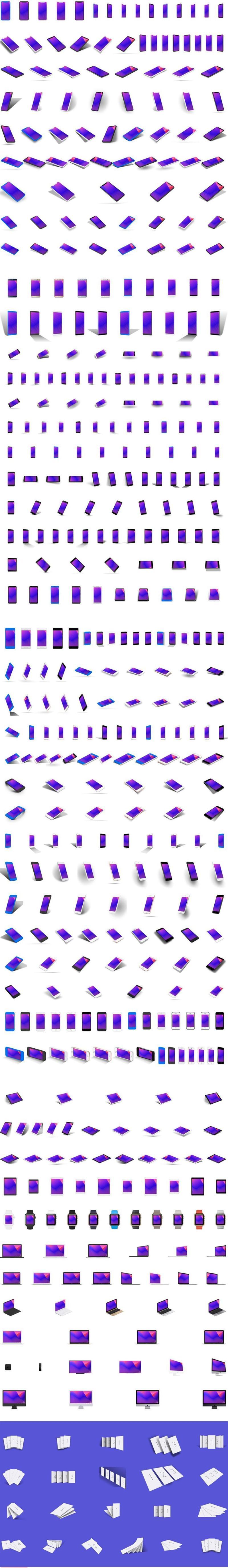 500个移动设备展示模型样机Sketch源文件格式100%矢量元素(包含136张高像素炫彩背景桌面壁纸)