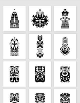 土著民族抽象人脸面具图腾AI矢量素材