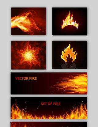 燃烧火焰梦幻火焰矢量素材