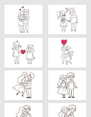 矢量手绘线描卡通情人节情侣插画