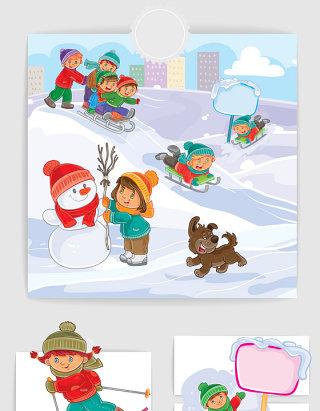 小朋友滑雪插画矢量图形