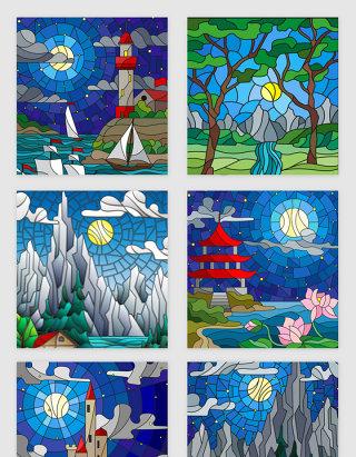 手绘山水夜景玻璃插画素材