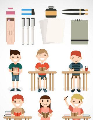 学生学习人物用具矢量图形