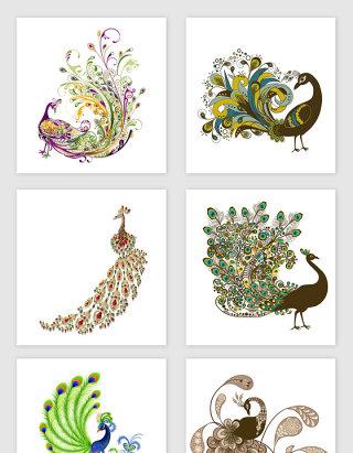 矢量动物孔雀设计元素