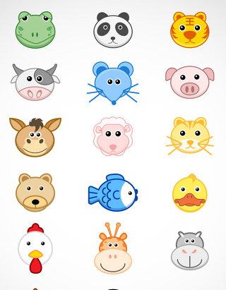 动物小头像矢量图标图形