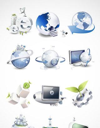 创意互联网商务地球素材