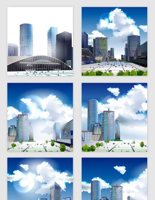 城市蓝天白云高楼矢量素材