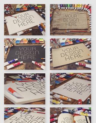 绘画工作室美术颜料纸张贴图psd素材