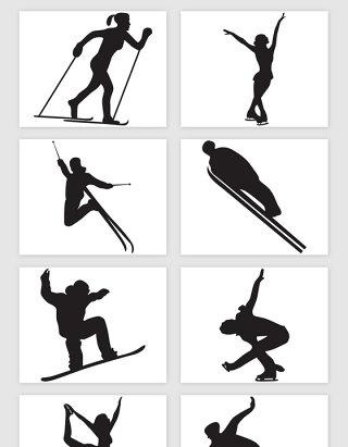 冬奥会体育雪上运动剪影矢量素材