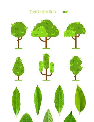 植树节树叶矢量图像