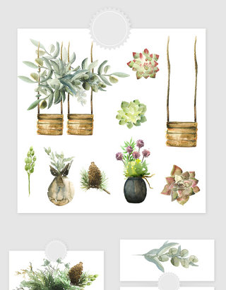 高清免抠手绘水彩装饰植物