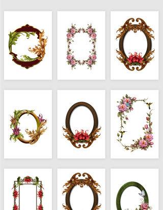 免抠创意装饰花卉植物相框png素材