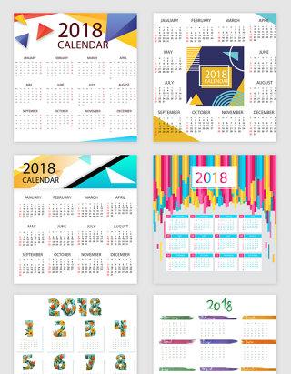 2018的主题日历矢量素材