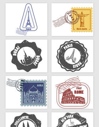 手绘邮票款式旅游景点矢量素材
