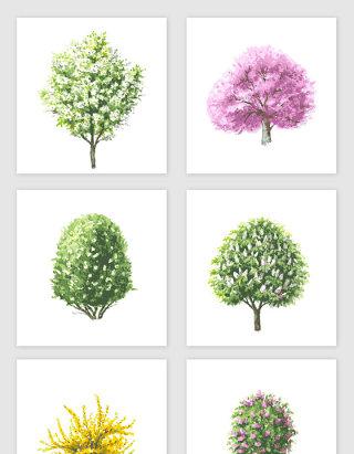 手绘卡通树木矢量素材