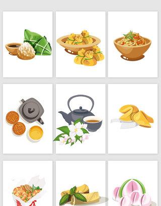 中国美味食物矢量素材