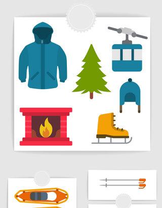 矢量扁平冬天滑雪元素