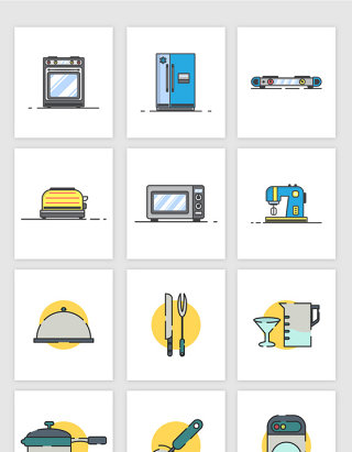 矢量厨房电器用具