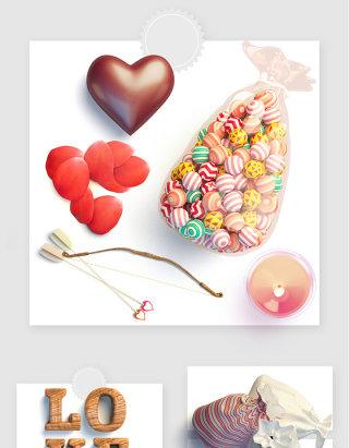彩色糖果荷包LOVE玫瑰花瓣巧克力爱心蜡