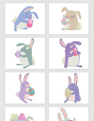 卡通可爱的小兔子复活节矢量素材