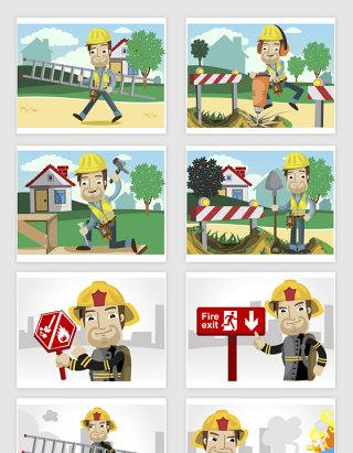 矢量卡通建筑工人消防员插图
