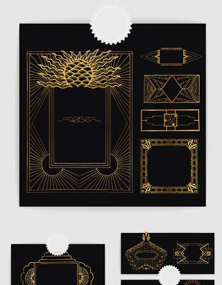 金色创意金属边框画框装饰设计素材
