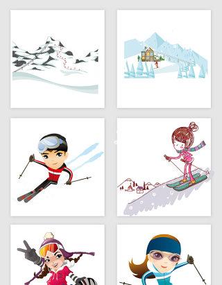 卡通冬季雪天滑雪PNG免抠素材