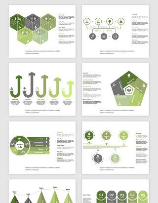 绿色PPT的报表类矢量素材