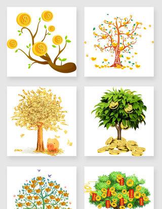 不规则图形摇钱树设计元素