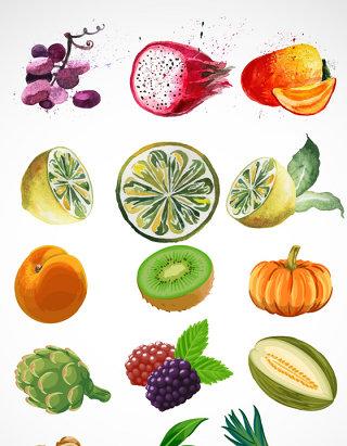 手绘水果食物矢量图手绘食物矢量素材