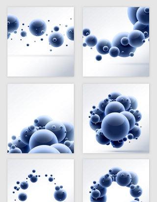 卡通立体分子小圆球矢量素材