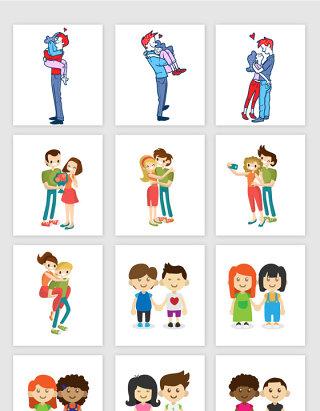 卡通可爱甜蜜情侣情人节矢量素材