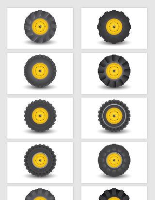 矢量卡车轮胎元素