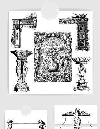 矢量欧式装饰天使花纹石柱石壁雕塑