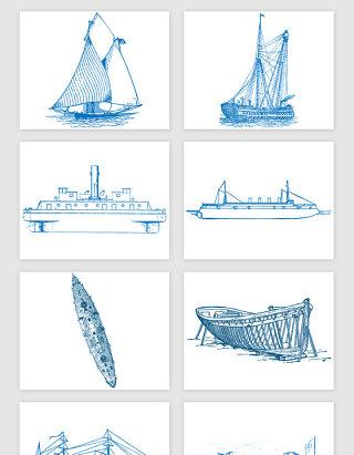 线描海运船只矢量素材