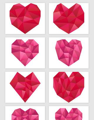 浪漫情人节立体折纸心形爱情矢量素材
