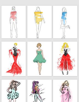 手绘水彩女性的模特矢量素材