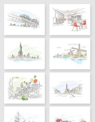 手绘线条水彩建筑风景插画元素