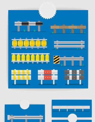 矢量城市交通公路护栏