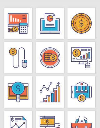 彩色简笔线条金融数据插画矢量图形
