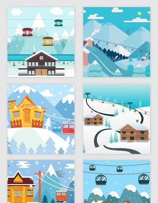 滑雪场相关主题矢量素材