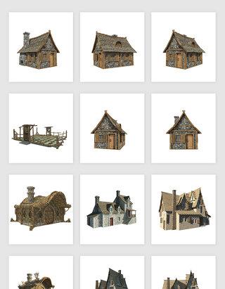 高清免抠欧式复古老式建筑房子