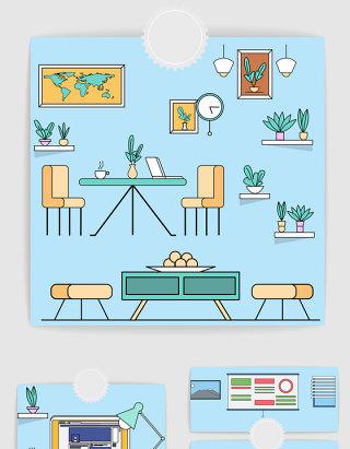 矢量卡通时尚室内设计插画