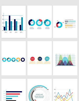 PPT数据排版手绘装饰图案