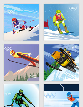 冬季奥运会运动滑雪矢量素材